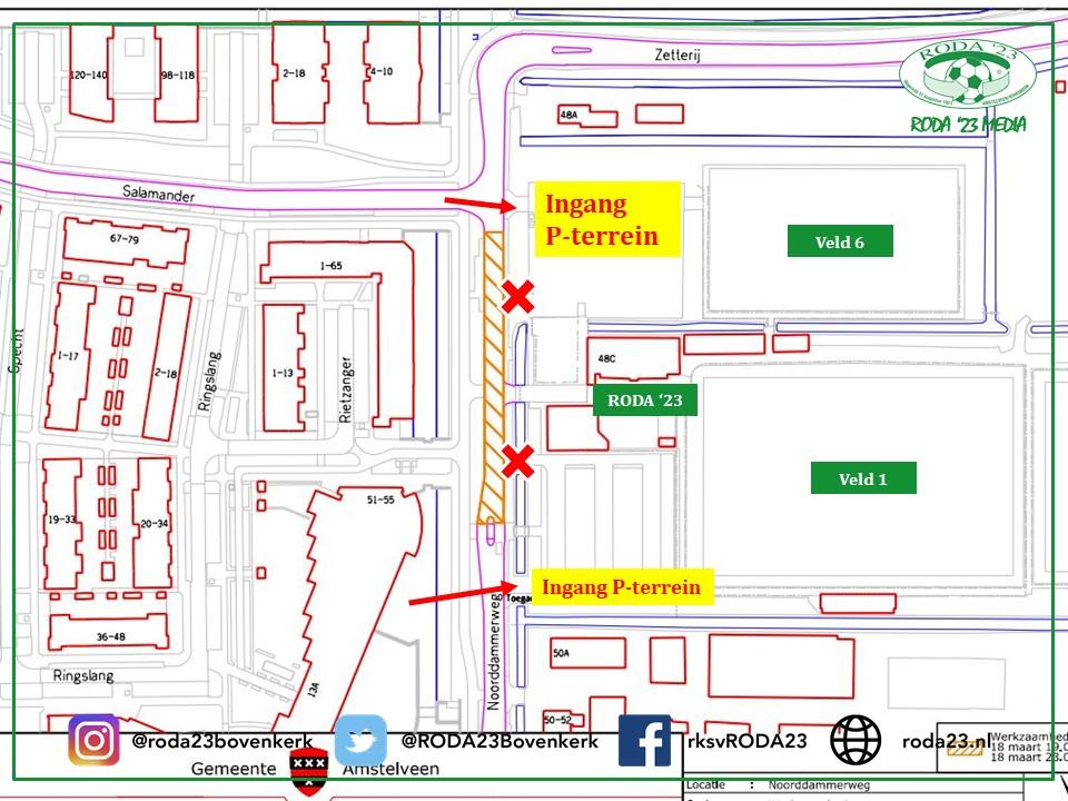 Bereikbaarheid RODA '23 donderdag 18 maart (vanaf 19:00 uur)