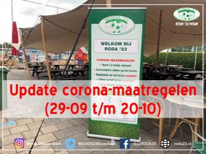 Update corona-maatregelen r.k.s.v. RODA '23 (29-09 t/m 20-10)