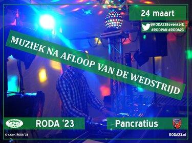 Zondag 24 maart, DJ na afloop RODA '23 vs Pancratius