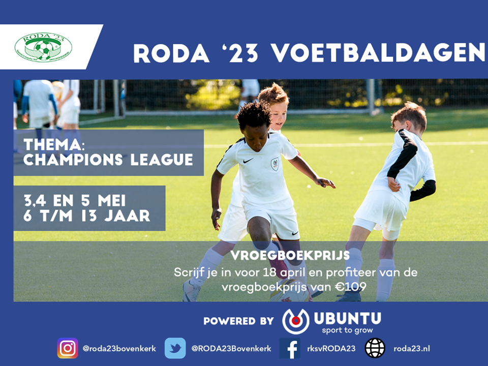 Trainers gezocht RODA '23 voetbal 3 daagse