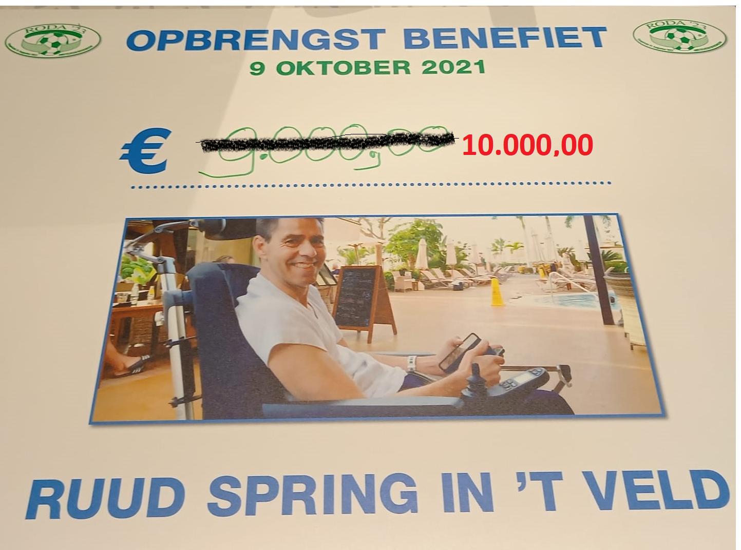 10.000 euro opgehaald bij Benefiet voor Ruud Spring in 't Veld