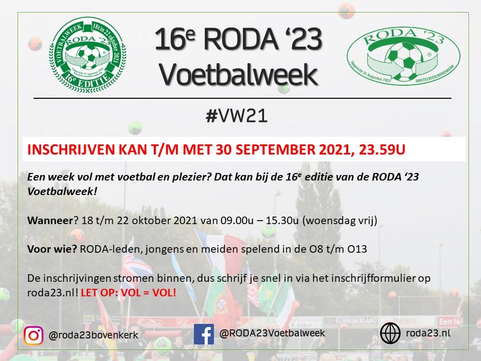 Update RODA '23 Voetbalweek 2021